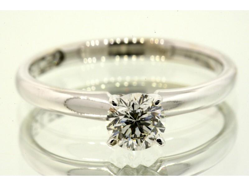 Leo .51 I SI1 Round Diamond Engagement Ring 14k White Gold Sz 7