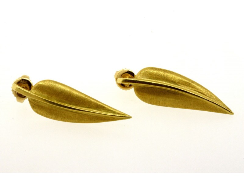 Tiffany & Co. 18k Feather Leaf Earrings Cummings Studs Drop Leaves