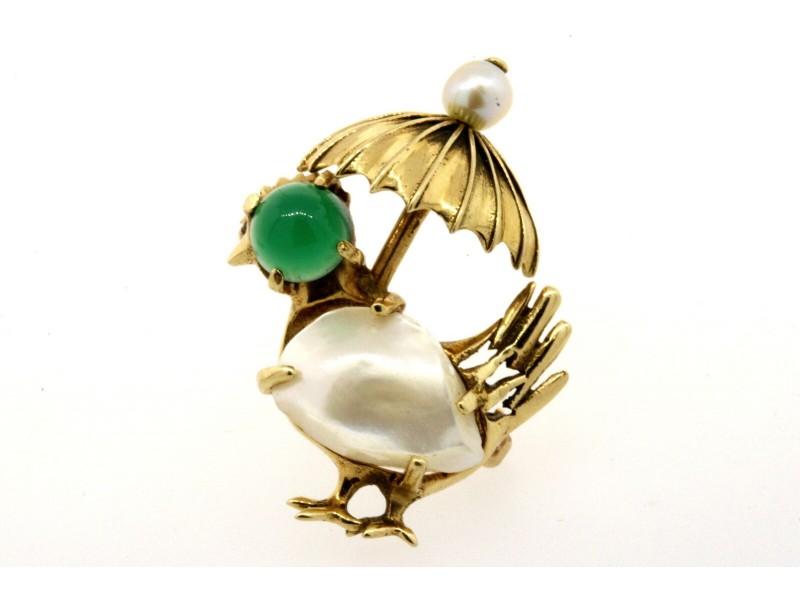 14k Gold Turkey & Umbrella Pin Brooch Green Jade Pearl Rooster Chicken Peacock
