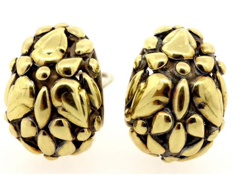 John Hardy Earrings 18k Gold Sterling Silver Pebble Dot Rare 3D Omega back