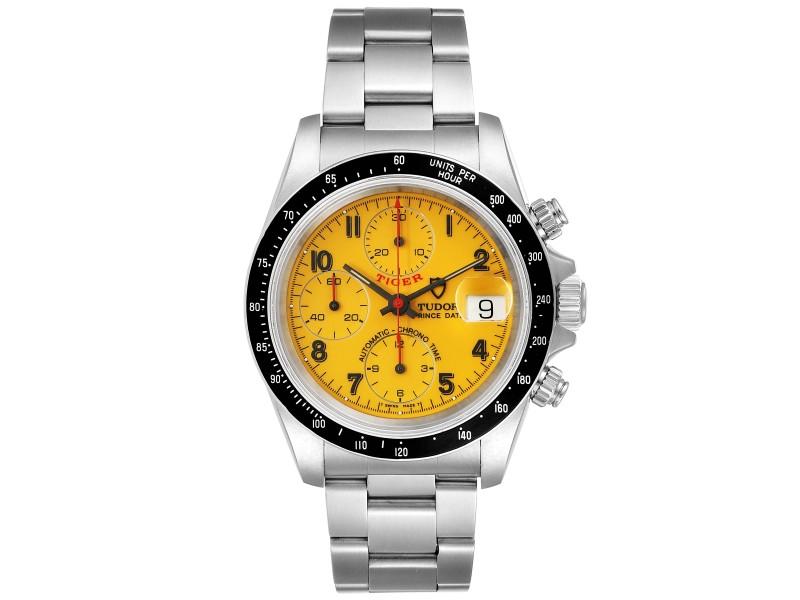 Tudor Tiger Woods Prince Chronograph Yellow Dial Mens Watch 79260