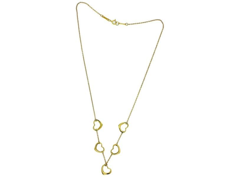 Tiffany & Co Elsa Peretti 18k yellow gold 5 open heart Necklace