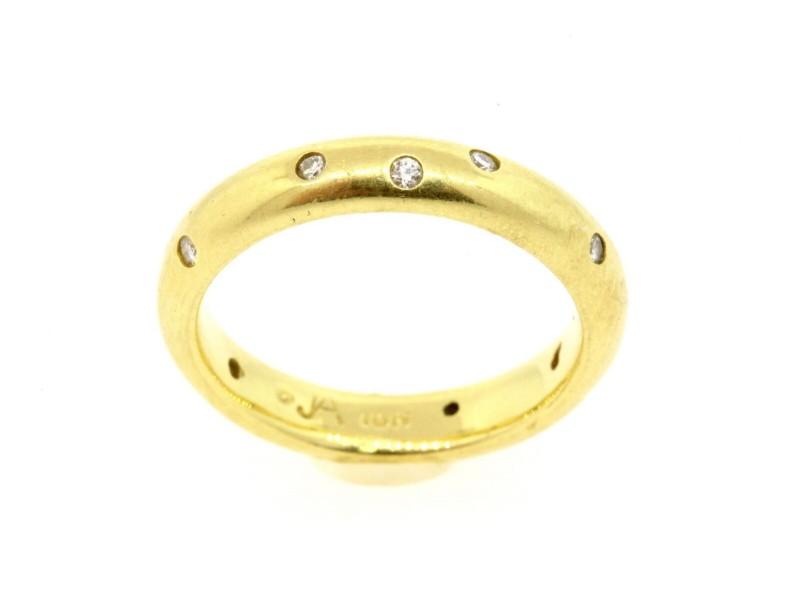 John Atencio 18k Diamond Eternity Band Wedding Scatter Bezel classic size 6.5