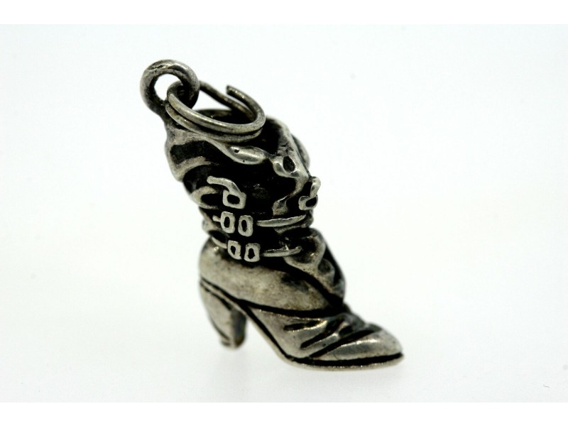 Vintage Sterling Silver Charm Ladies Cowboy Cowgirl Boot Shoe