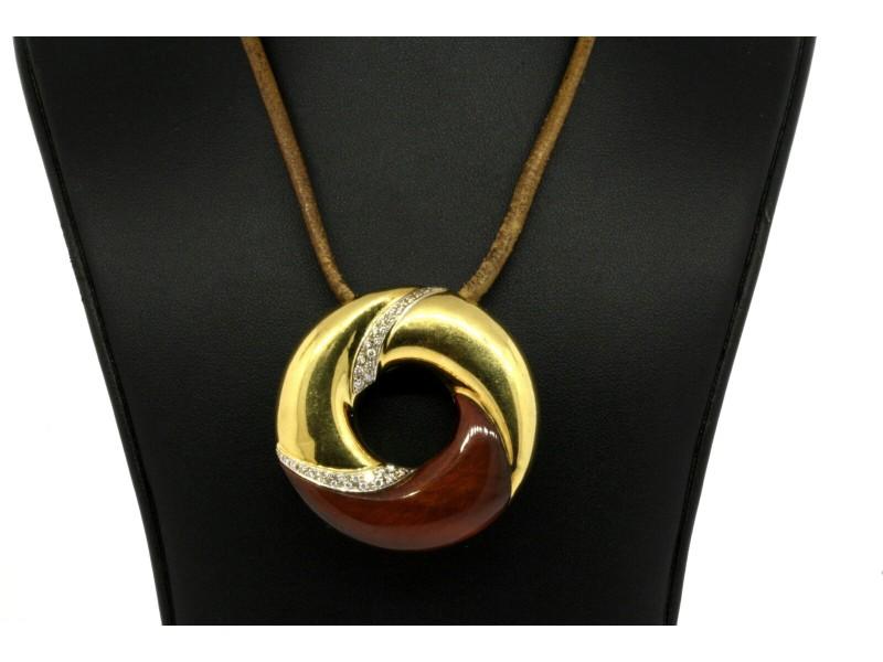 Roberto Coin Tigers Eye Diamond Circle Pendant 18k Yellow Gold Large Vintage
