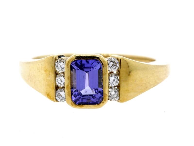 Kabana Tanzanite Diamond Ring 14k Yellow Gold Emerald Cut size 6.5