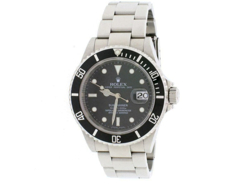 Rolex Submariner Date Black Dial 40MM Oyster Mens Watch 16610 Box Papers