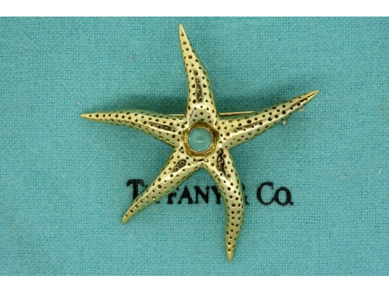 Tiffany & Co. Starfish Pin Brooch 18k Yellow Gold Turquoise Vintage Rare Italy