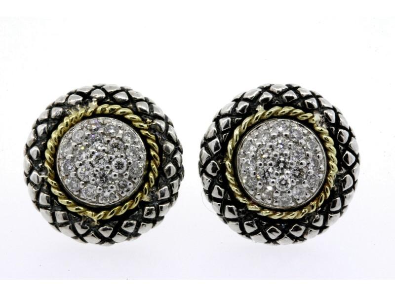 Andrea Candela Diamond Earrings Stud 18k Gold Sterling Silver
