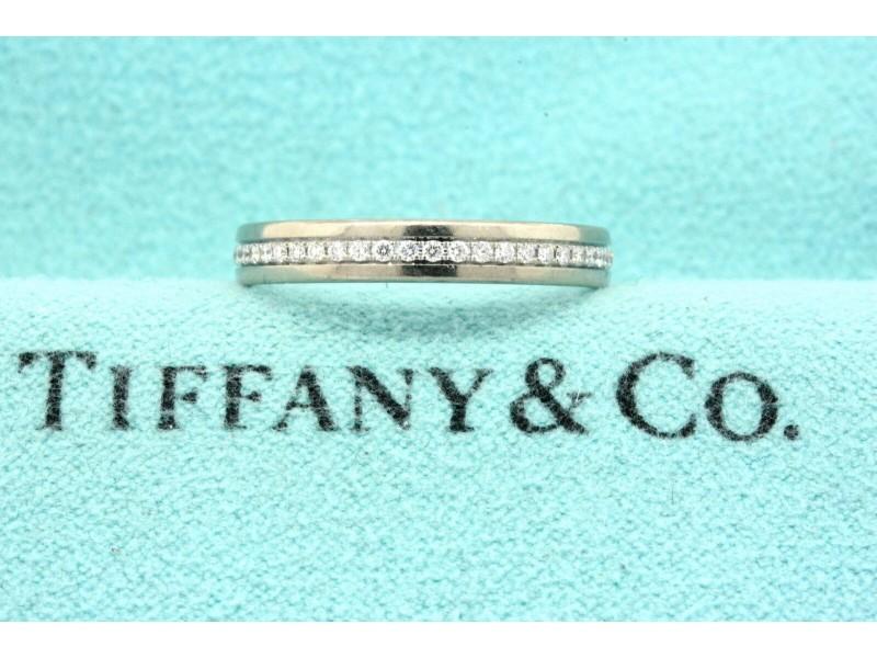 Tiffany & Co. Eternity Band Ring 750 Belgium 18k White Gold Diamond 5.5