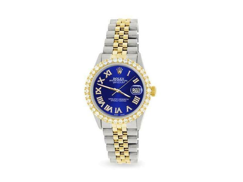 Rolex Datejust 36mm 2-Tone WATCH/3.10ct Diamond Bezel/Navy Blue Roman Dial