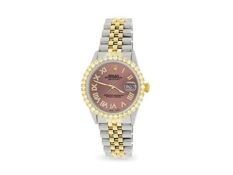 Rolex Datejust 36mm 2-Tone WATCH/3.10ct Diamond Bezel/Salmon Roman Dial