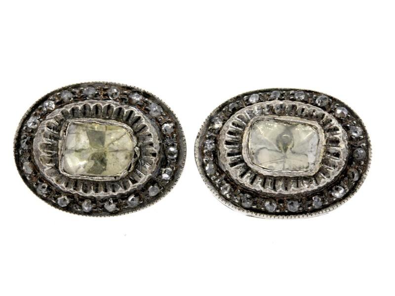 Monisha Melwani Diamond Stud Earrings Sterling Silver Oval Rose Cut