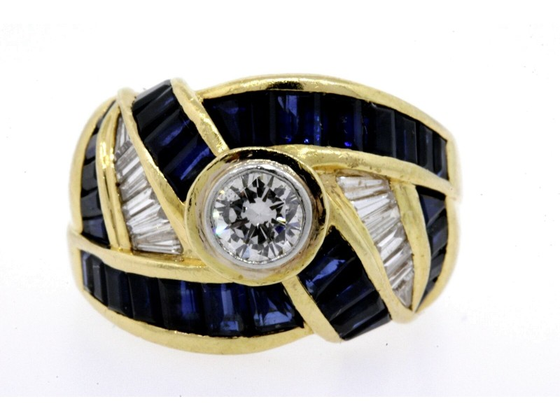 Levian .40ct Solitaire Diamond Ring Sapphire Baguette Swirl 18k Yellow Gold 6.5