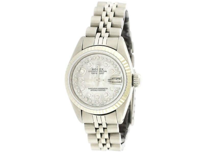 Rolex Datejust 26mm Steel Watch w/White Gold Fluted Bezel/White MOP Diamond Dial