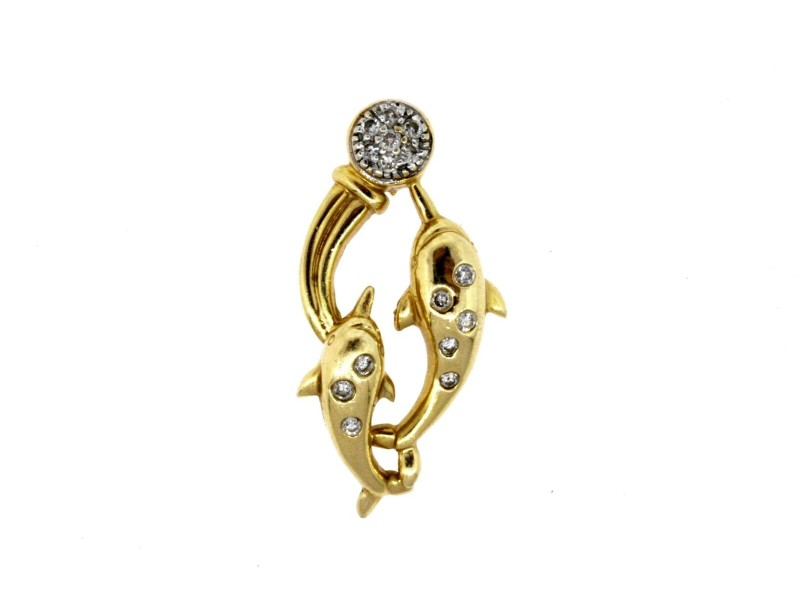Dolphin Diamond Pendant Necklace 2 Jumping Pave 14k Yellow Gold Hawaii Ocean