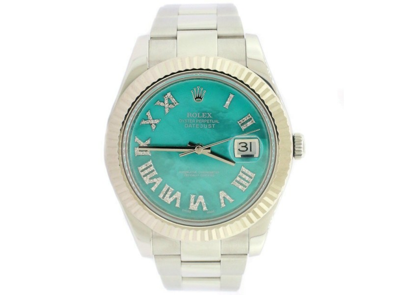 Rolex Datejust II 41MM Oyster Watch w/Royal Turquoise MOP Diamond Dial 116334