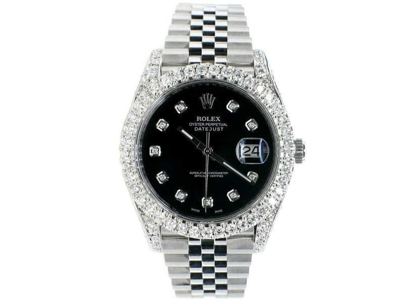 Rolex Datejust 41 Steel Jubilee Watch 5.9CT Diamond Bezel/Lugs/Sides/Black Dial
