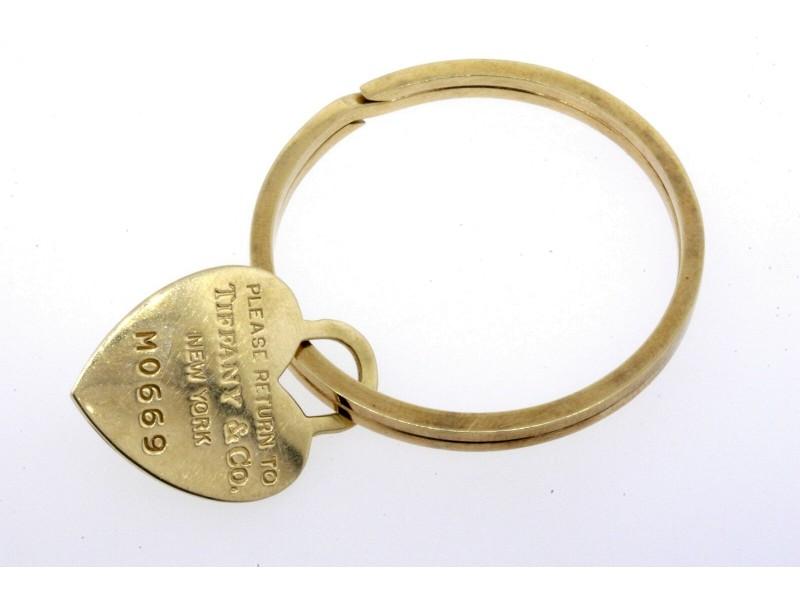 Tiffany & Co. 14k Yellow Gold Keychain KeyRing Please Return To Heart Charm Tag