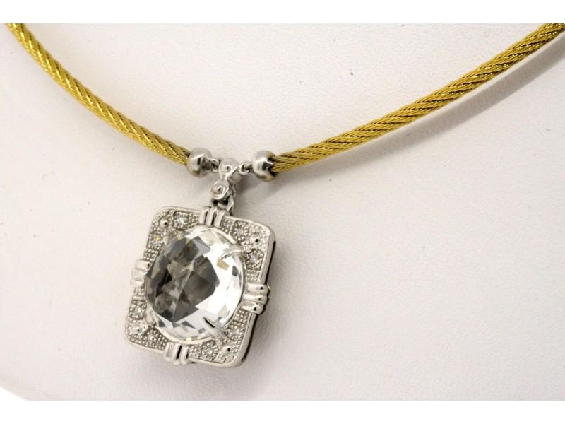 Charriol Classique White Topaz Diamond Necklace Pendant 18k Gold SS Steel