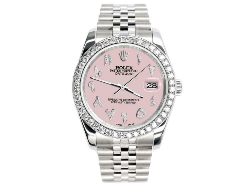 Rolex Datejust 116200 36mm 2ct Diamond Bezel/Orchid Pink Arabic Dial Steel Watch