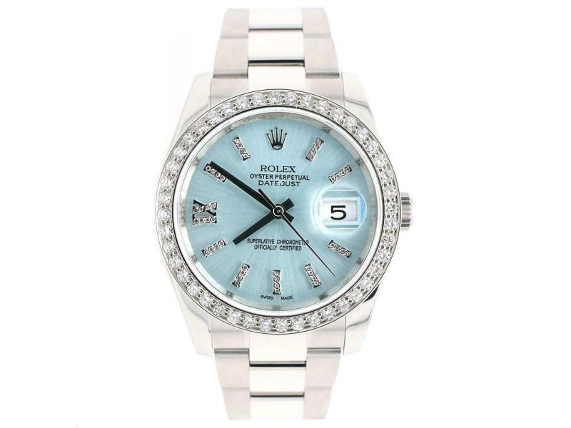 Rolex Datejust 116200 36mm 1.95ct Diamond Bezel/Ice Blue Dial Steel Watch