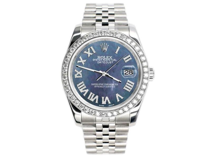 Rolex Datejust 116200 36mm 2.0ct Diamond Bezel/BlackPearl Roman Dial Steel Watch