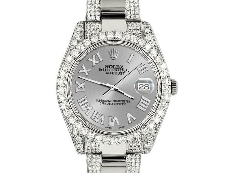 Rolex Datejust II 41mm Diamond Bezel/Lugs/Bracelet/Silver Roman Dial Steel Watch