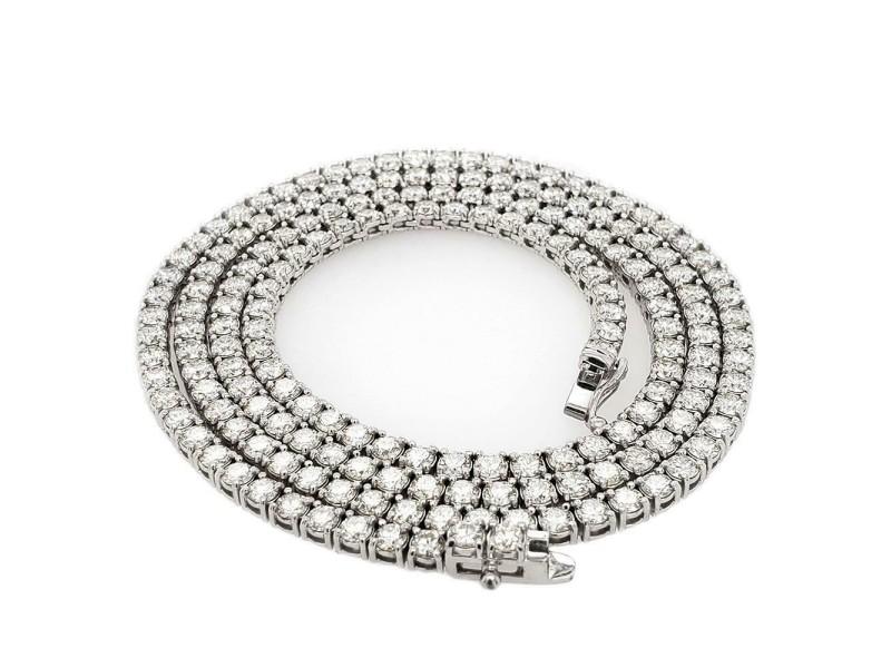 "14k White Gold 14.7ct Tennis Diamond 22"" Chain"