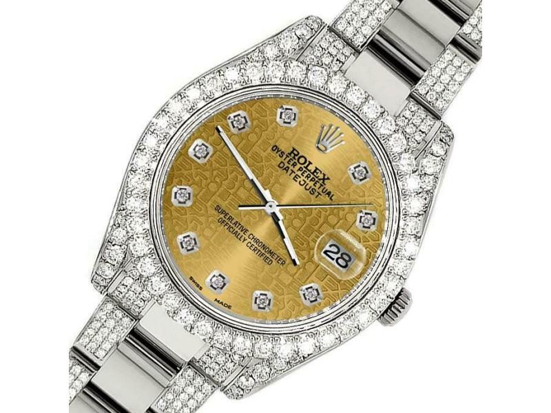 Rolex Datejust II 41mm Diamond Bezel/Lugs/Bracelet/Champagne Jubilee Dial Watch