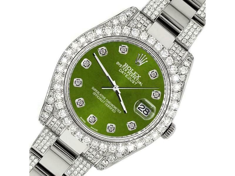 Rolex Datejust II 41mm Diamond Bezel/Lugs/Bracelet/Royal Green Dial Watch