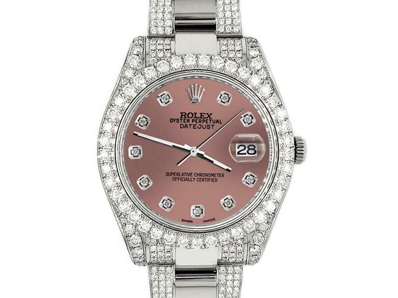 Rolex Datejust II 41mm Diamond Bezel/Lugs/Bracelet/Salmon Diamond Dial Watch