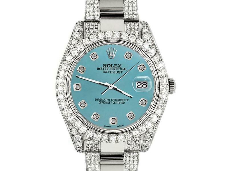 Rolex Datejust II 41mm Diamond Bezel/Lugs/Bracelet/Turquoise Diamond Dial Watch