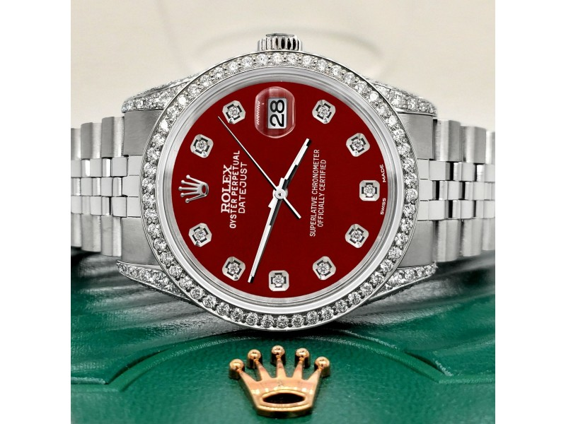 Rolex Datejust 36mm Steel Watch 2.85ct Diamond Bezel/Pave Case/Imperial Red Dial