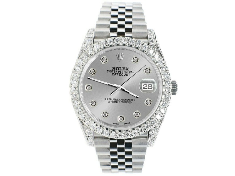 Rolex Datejust 41mm 5.9CT Bezel/Lugs/Sides/Silver Dial 126300 Watch