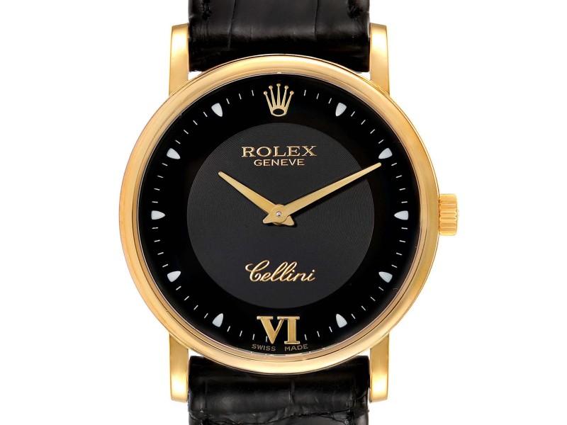 Rolex Cellini Classic 18k Yellow Gold Black Dial Unisex Watch 5115