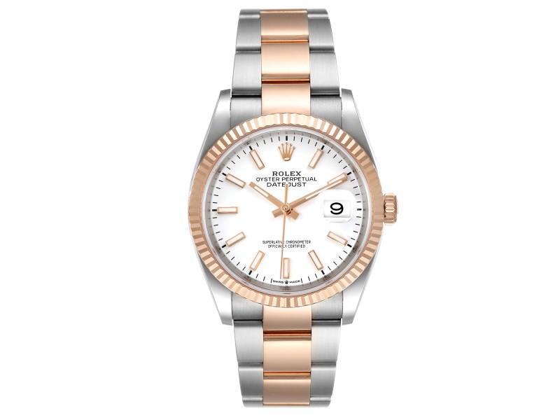 Rolex Datejust 36 Steel EveRose Gold White Dial Mens Watch 126231 Box Card