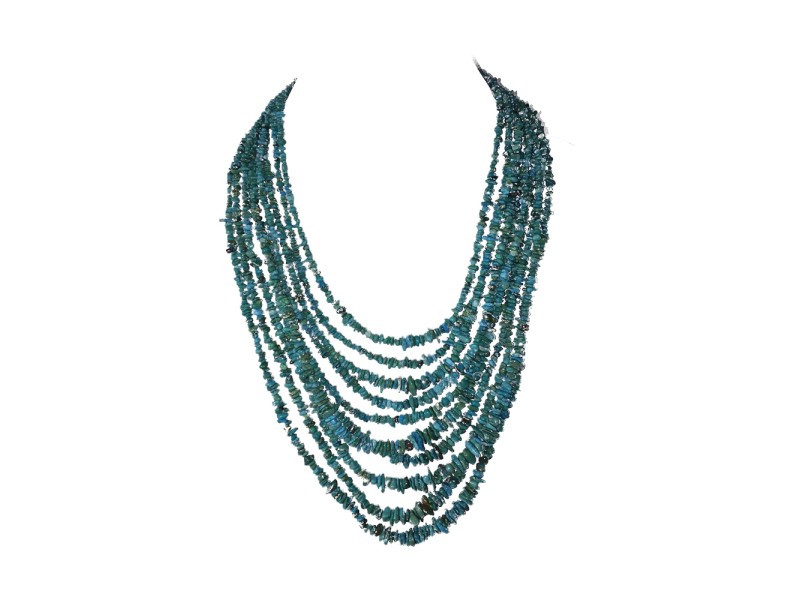 Turquoise Chip Bead Multi Strand Vintage Necklace
