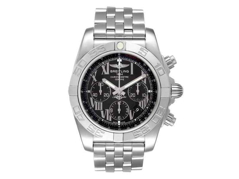 Breitling Chronomat 01 Black Dial Steel Mens Watch
