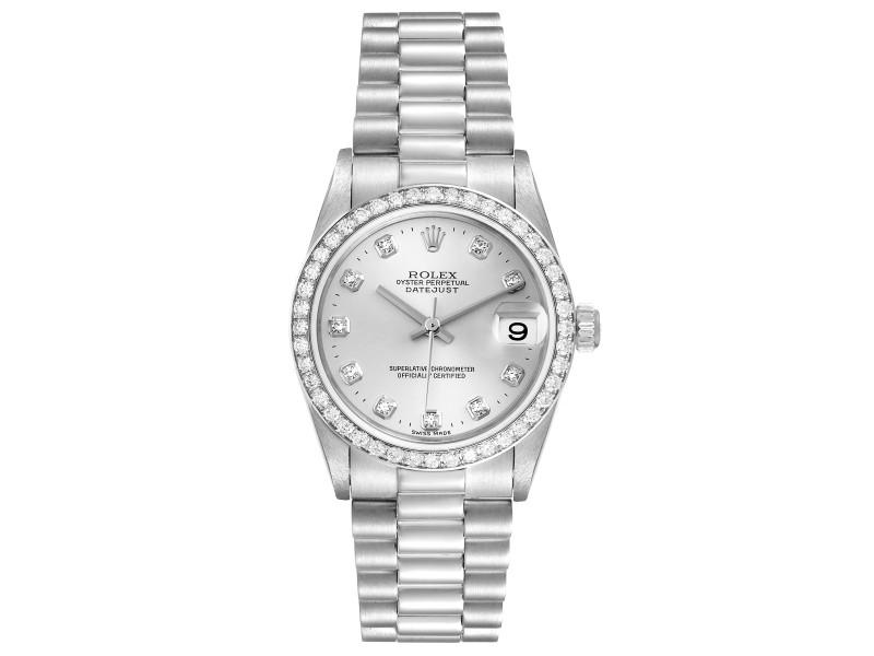Rolex President Datejust Midsize Platinum Diamond Ladies Watch