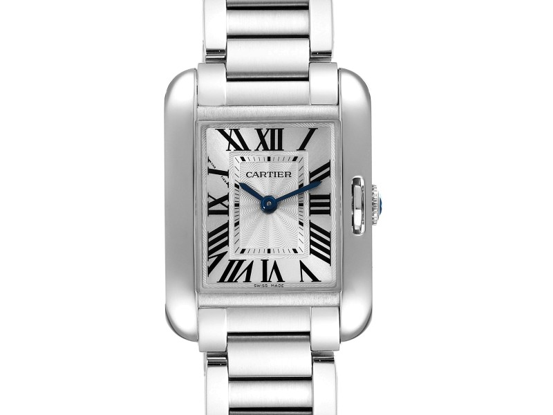 Cartier Tank Anglaise Small Silver Dial Steel Ladies Watch W5310022 Box Papers