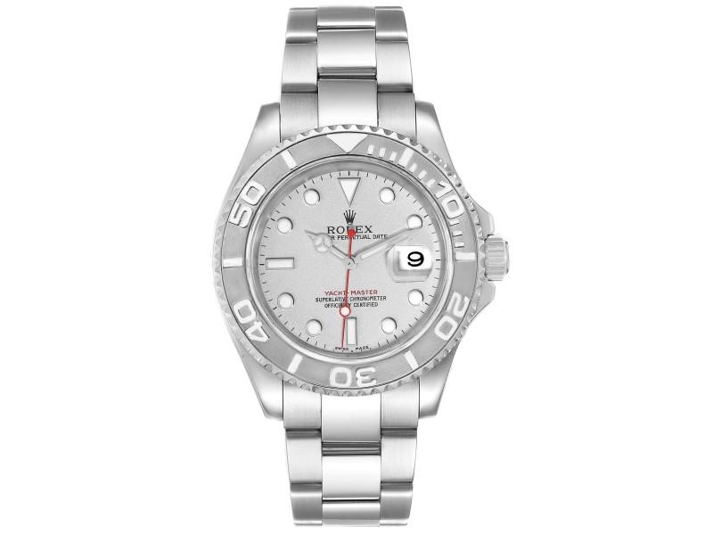 Rolex Yachtmaster 40 Steel Platinum Dial Bezel Mens Watch