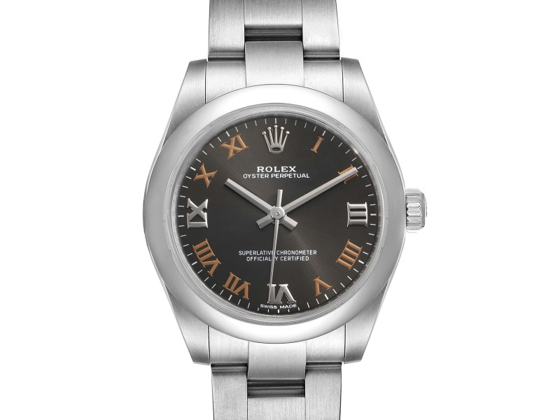 Rolex Oyster Perpetual Midsize Gray Dial Ladies Watch 177200 Box Card