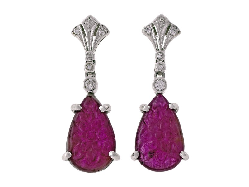 18K White Gold Carved Ruby & Diamond Dangle Earrings