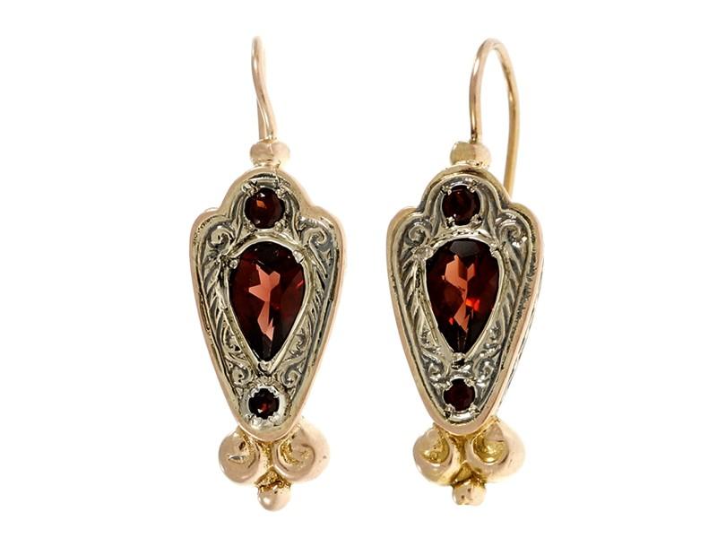 14K Rose Gold Silver Rhodalite Garnet Earrings