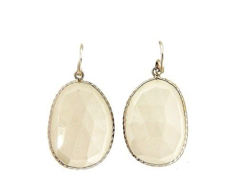Peter Suchy 14K White Gold with 30ct. Moonstone Dangle Earrings