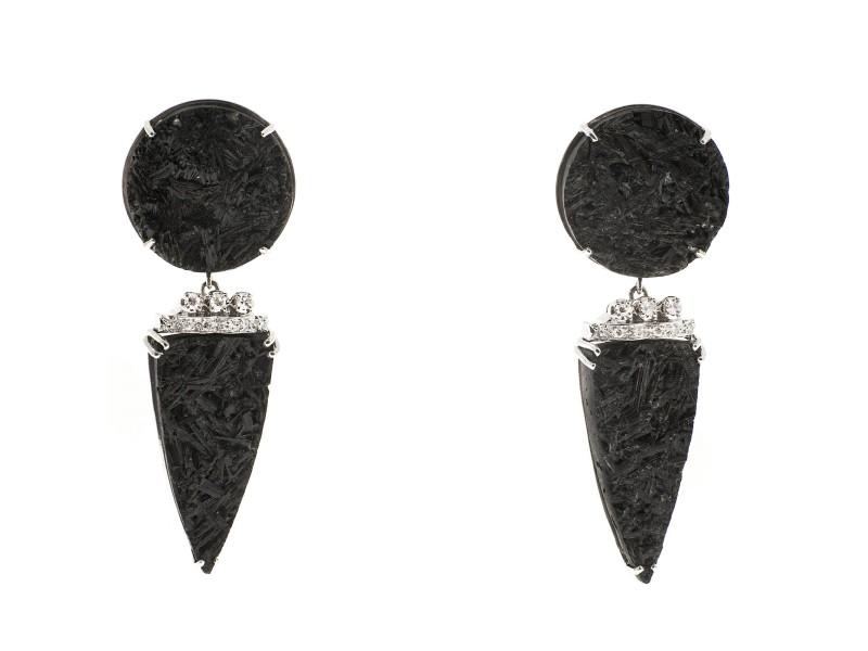 14K White Gold Black Tourmaline Crystal Diamonds Dangle Earrings