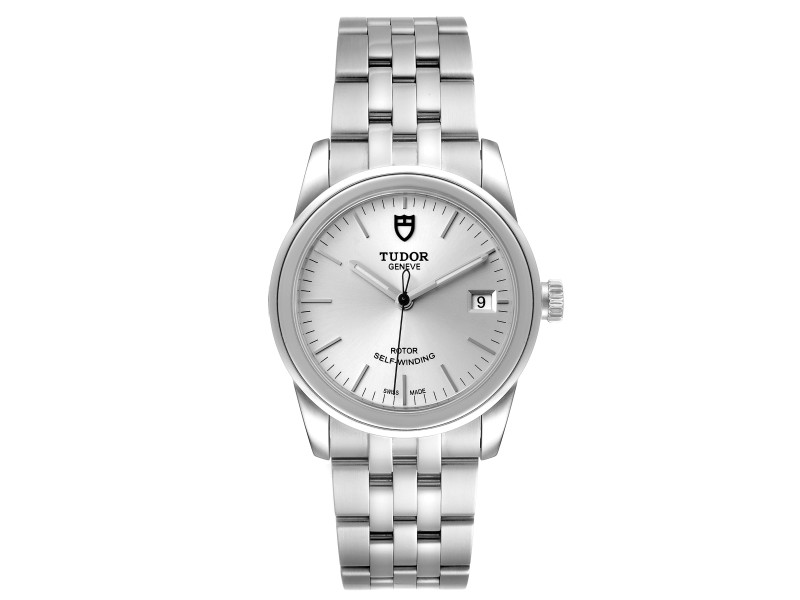 Tudor Glamour Date Silver Dial Automatic Steel Mens Watch M55000 Box Card