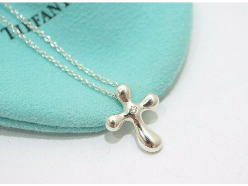 Tiffany & Co. Sterling Silver Peretti Cross Diamond Necklace