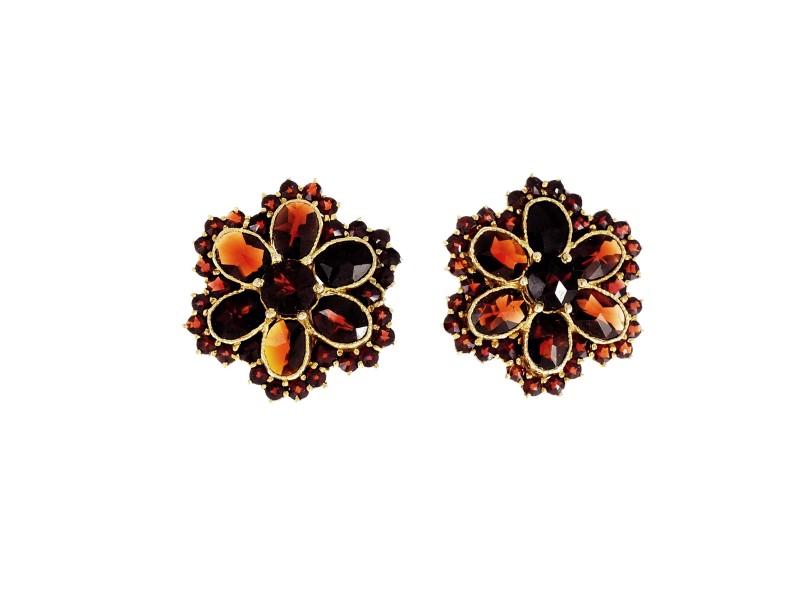 14K Yellow Gold Garnet Cluster Earrings
